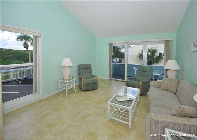 Our living room is comfy and casual - Quail Hollow A8-3U with pool on Crescent Beach, St Augustine FL - Saint Augustine - rentals