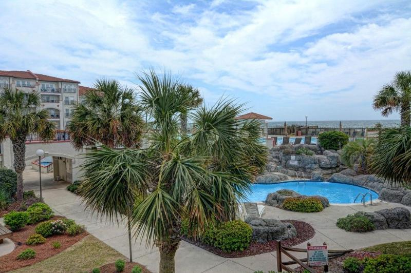 View from this unit - Villa Capriani 108-A Oceanfront! | 3 pools, Largest Pool on NC Coast, 2 Hot Tubs, Grill Area, Tennis Courts, Restaurant, and Internet - North Topsail Beach - rentals