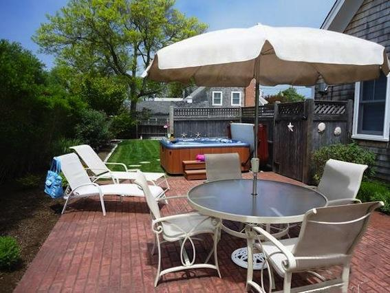 View of Private Backyard/ Patio with Hot tub and outdoor shower - 201 Main Street Chatham Cape Cod - Chatham - rentals