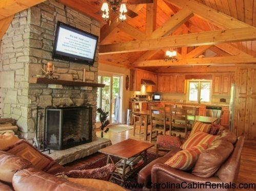 Great Room with Leather, Flat Screen, Stacked Stone and Timbers - Almost Heaven - Boone - rentals