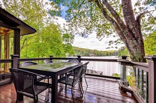 View of lake from deck - Lakefront home, Arcade, hot tub, swim-fish-boat - Waleska - rentals