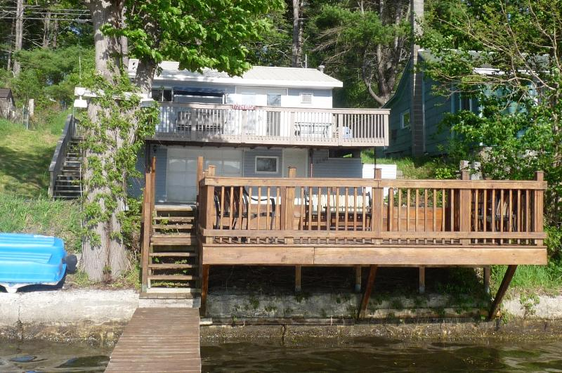 view of cottage from end of dock - Blue Lagoon - cottage on Lamoka Lake - Bradford - rentals