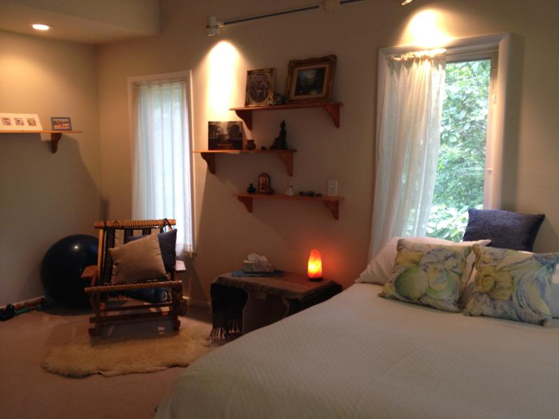Master Bedroom on Main Level with Private Bath overlooks the lake. - Charlottesville Lake and Mtn B and B - Charlottesville - rentals