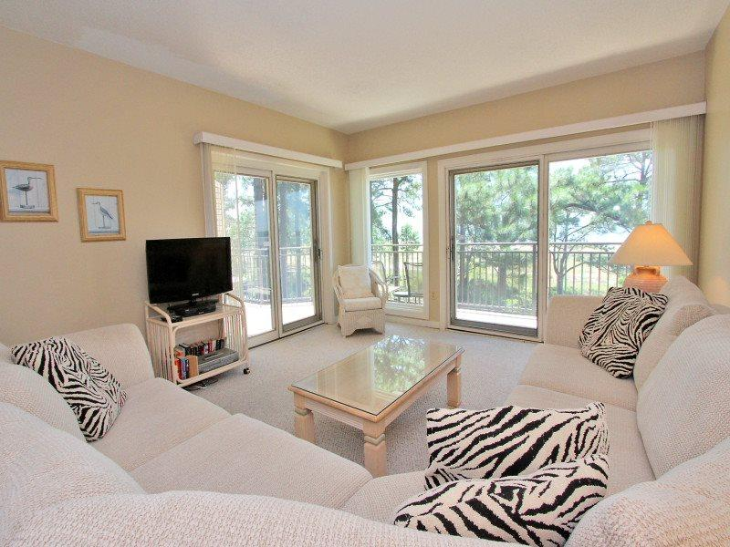 Living Room with Flat Screen at 1834 Beachside Tennis - 1834 Beachside Tennis - Sea Pines - rentals