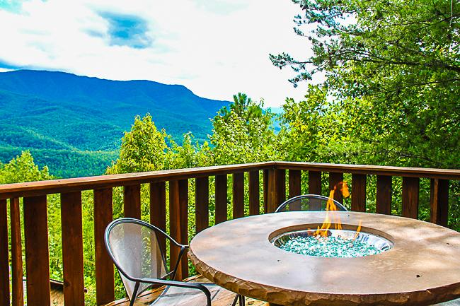 Outdoor Gas Fire Pit on Upper Deck - CLOUD NINE-Recent updates incl. Fire Pit on deck! - Gatlinburg - rentals