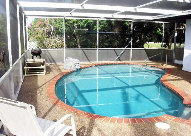 Enjoy good times together in our very private pool! - Venice Florida Falcon Beach Home - Private Heated Pool, Wifi, Walk to Beach - Venice - rentals