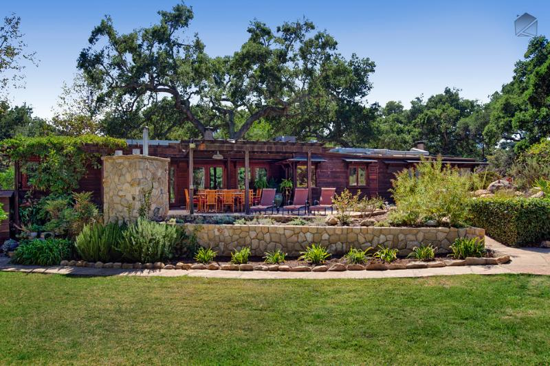 Magical Canyon's backyard is grand by any standard, with gorgeous landscaping,a covered patio with dining table, outdoor kitchen, and gas BBQ - A large creek side retreat with amazing outdoor living space - Magical Canyon Retreat - Santa Barbara - rentals