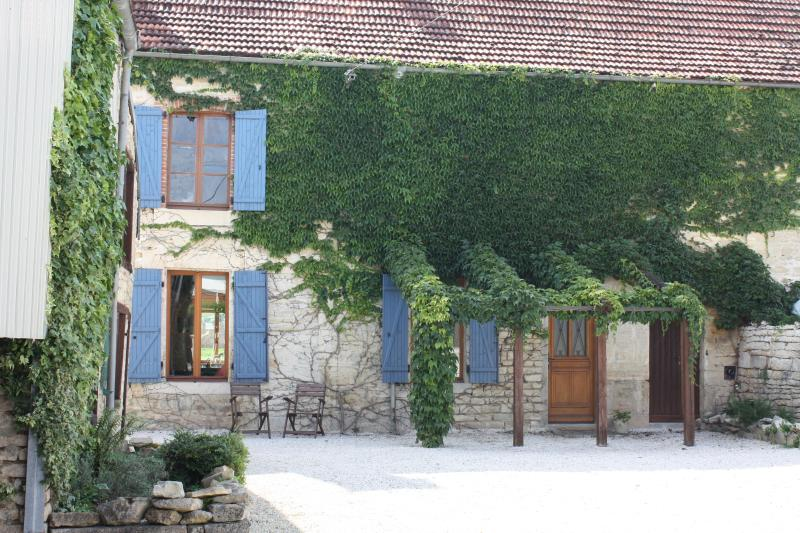 Front exterior and private courtyard of Maison Valois - Spacious and Lovely House with Vineyard Views - Burgundy - rentals