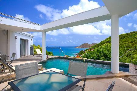 Hillside Magic Bird offers ocean views, open living to pool & deck, walk to beach - Image 1 - Flamands - rentals
