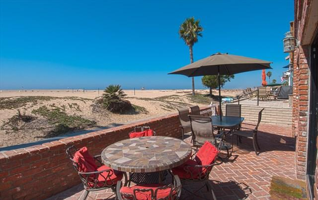 Patio showing view to the beach - 414 A East Oceanfront- Lower 3 Bedroom 2 Baths - Newport Beach - rentals