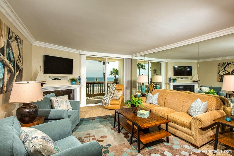 Watch the waves and sailboats from this beautiful, luxurious living room! - Surf 'n Sand~2BR Straight-on Ocean Views~Gorgeous! - Oceanside - rentals