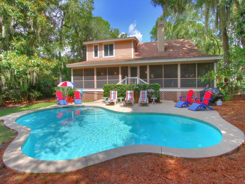 Pool and Deck at 6 Shelley Court - 6 Shelley Court - Palmetto Dunes - rentals