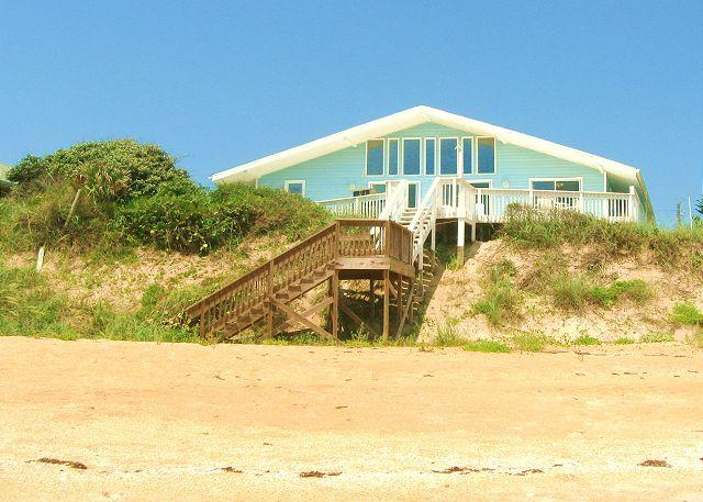 Blue Ocean Breeze sits high on dune and is beach front - Blue Ocean Breeze Beach Front House, Sleeps 14, Wifi, HDTV, 2 Kitchens - Flagler Beach - rentals