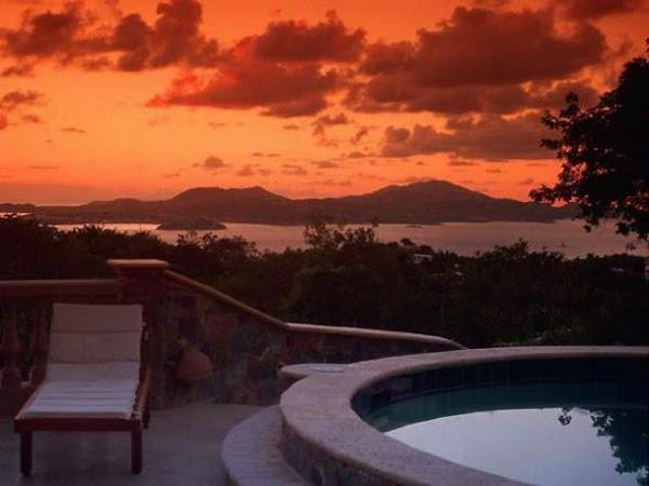 Sunset on the expansive pool terrace at Casa De Saonadores - 5 bedroom luxury, economy, best views & location! - Saint John - rentals