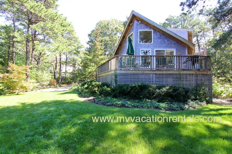 Front of House with Pretty Waterview and Wrap Around Deck - RUTHW - Lagoon Waterview, Central AC,  200 Yards to Private Assoc Lagoon Beach, Swim and Kayak - Oak Bluffs - rentals