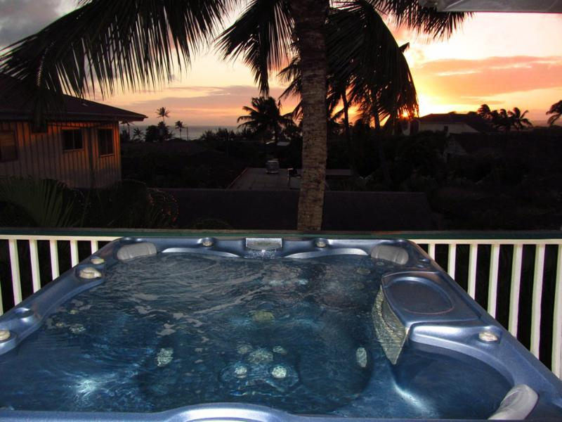 Imagine sitting in your private hot tub as you watch the sun setting on Poipu Beach - Air conditioned 2Bdrm/2Bath w/hot tub-WalkTo Beach - Poipu - rentals