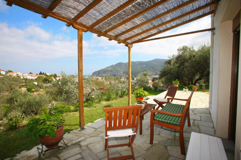 have a glass of wine in the private porch - Remvi Luxury Apartment - Skopelos - rentals
