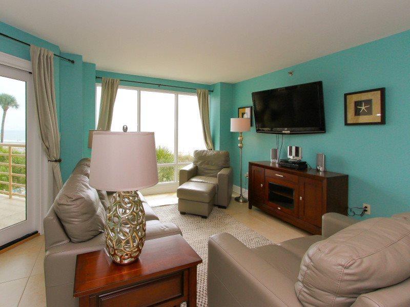 Living Room with Ocean Front Views at 3233 Villamare - 3233 Villamare - Palmetto Dunes - rentals