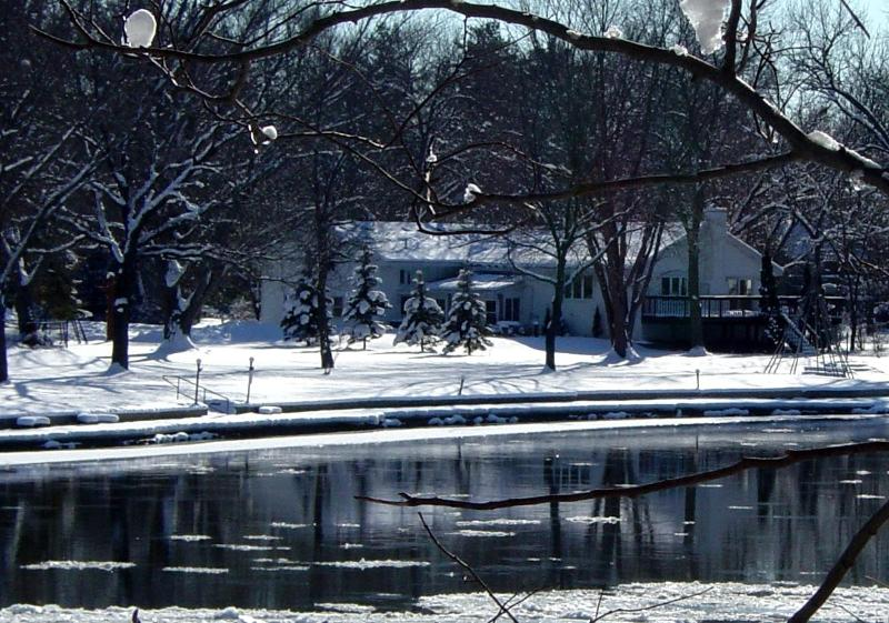 Waterfront view beautiful in winter too...Nice and warm inside. - TIMEAWAY LODGE riverfront retreat sleeps up to 17. - Rockford - rentals