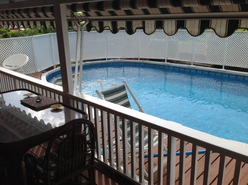 the pool has its own deck with a gate for children safety - Villa in fenced property, R. Bay, Close to  Marina - Gros Islet - rentals