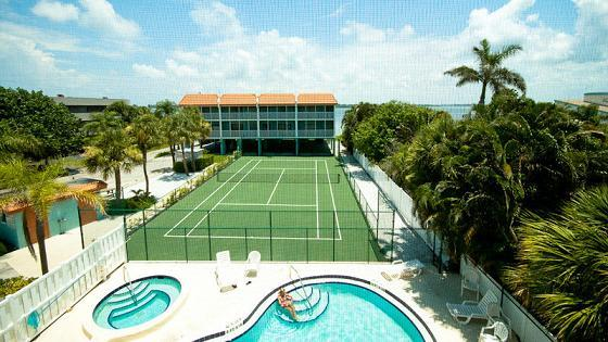 Pool area-view from Master suite - Pelican cove - Bradenton Beach - rentals