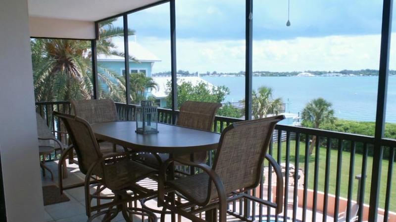 Screened Balcony View of Intracoastal Waterway - Coquina Moorings 203: 3BR Condo with Perfect Views - Bradenton Beach - rentals