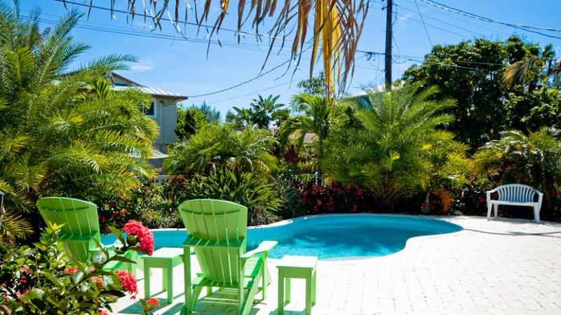 Tropical Landscaping by Pool - Coastal Cottage: 3BR Pet-Friendly Pool Home - Anna Maria - rentals