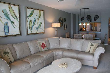 Living Area - Lovely Beachfront Condo with Gulf of Mexico views in Popular Island Resort - Marco Island - rentals