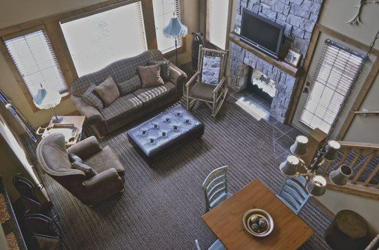 View of the Living Room from the Loft Area - 4BR Creekside Condo - Ski In/Ski Out Luxury - Boyne Falls - rentals