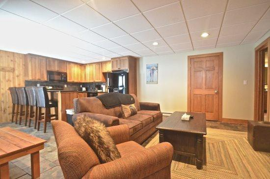 Spacious Living Room with Queen Sofa Sleeper, Flat Screen TV, and DVD Player - Luxurious 2BR Disciples Village Ski In/Ski Out Condo - Completely Remodeled, Sleeps 9 - Boyne Falls - rentals