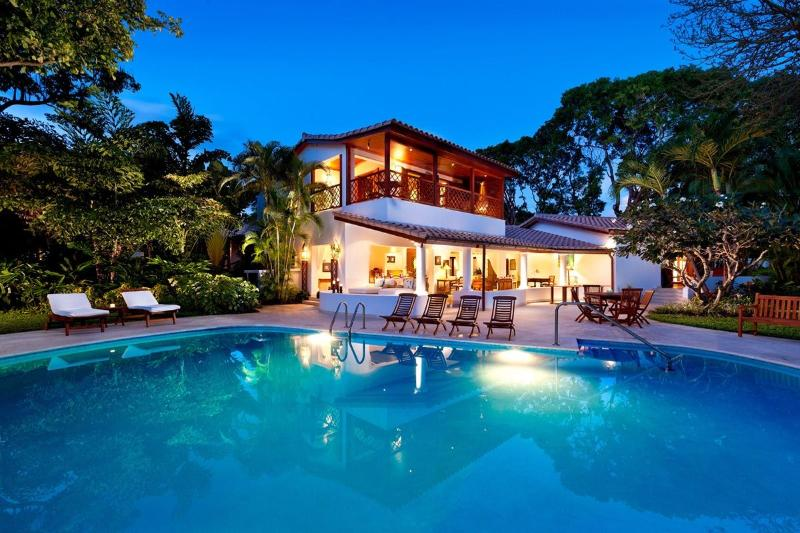 GREENSLEEVES BLUE POINT REAR EXTERIOR OVER POOL TWILIGHT.jpg - Blue Point - Barbados - rentals