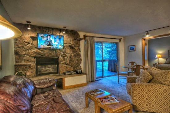 Open Living Area, Kitchen, With Sleeper Sofa, Rock Gas Fireplace, Flat Screen TV, Balcony - Storm Meadows E32 - Steamboat Springs - rentals