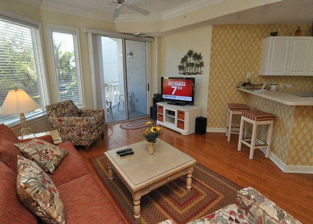 Living Area w/ Flat Panel TV - 2113 SeaCrest-Pretty 1st Floor Villa steps to the beach and Coligny - Hilton Head - rentals