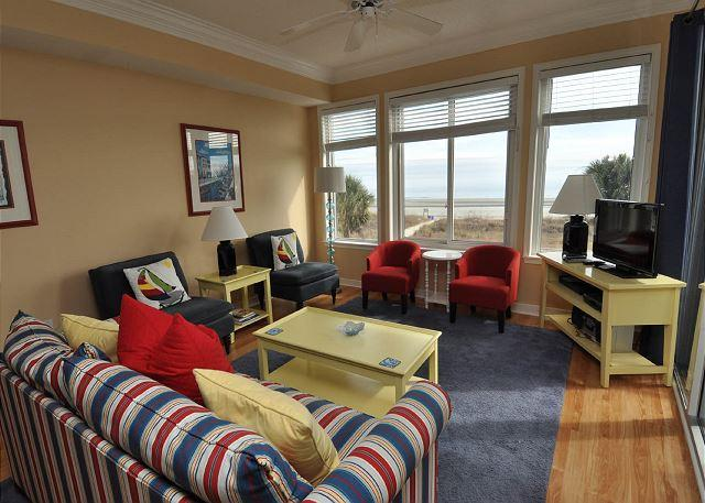 Main Living Area Overlooking the Ocean w/ Flat Panel TV - 3204 SeaCrest - Beautiful Oceanfront Views! BOOK NOW 7/25 OR 8/1 WEEK - Hilton Head - rentals