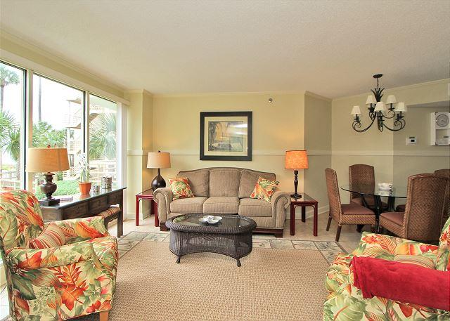 Living Area - 1108 Villamare - 1st floor renovated Villamare - 2 bedrooms/2 baths. Sleeps 6 - Hilton Head - rentals