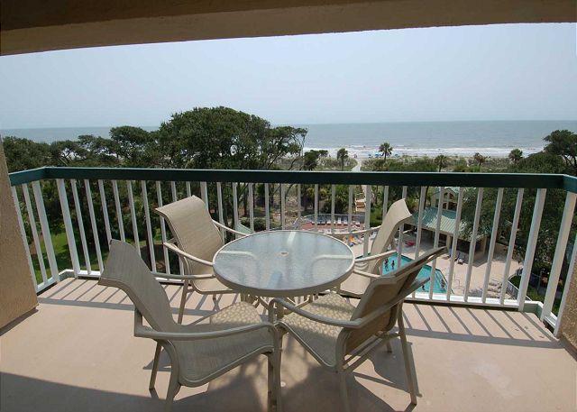 Patio & view - 504 Barrington Arms- 5th Floor Oceanfront Villa! - Hilton Head - rentals