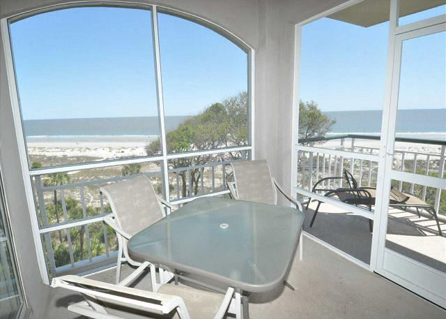 Screened Porch w/ Seating for 4 - 3507 Windsor Court South-Oceanfront 5th Floor 3 Bedroom Penthouse.  Wow views - Hilton Head - rentals