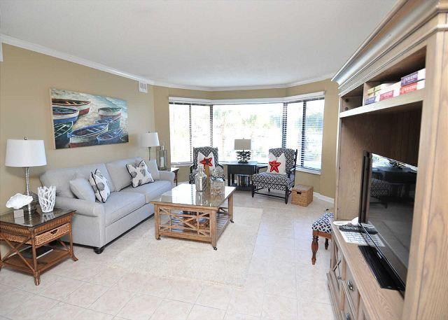 Living Area - 7525 Yacht Club-2nd Floor Fully Renovated Harbourview villa. Beautiful Views - Hilton Head - rentals