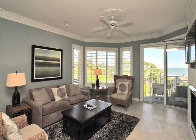 Main Living Area w/ Flat Panel TV - 2503 SeaCrest - 5th Floor, Pretty Ocean views and Beautiful Interior - Hilton Head - rentals