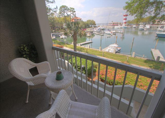 Patio View of Harbourtown Marina & Lighthouse - 1029 Caravel Court - Beautiful view of Harbour Town! 5/11-16 Available - Okatie - rentals