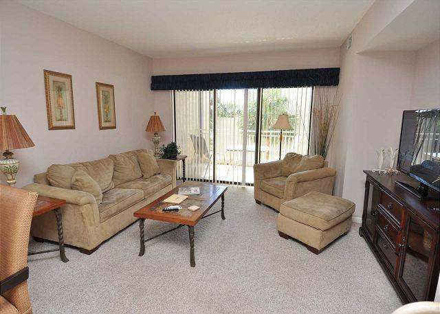 Main Living Area w/ Flat Panel TV - 238 Shorewood- 2nd Floor Landscape View steps to the beach. - Hilton Head - rentals