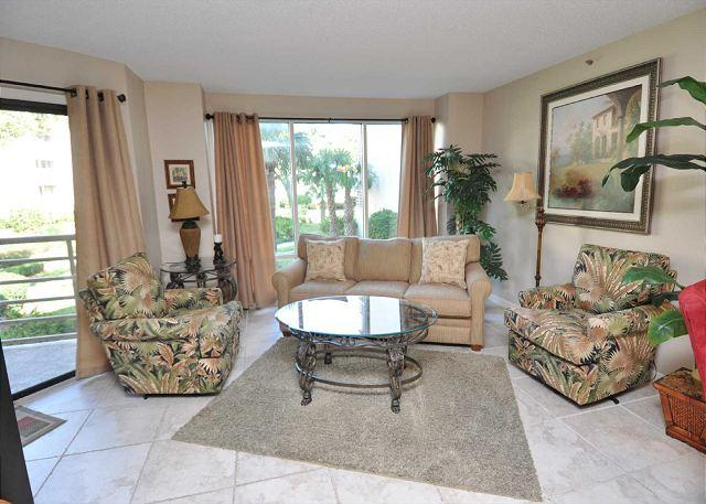 Living Area - 3121 Villamare - 1st Floor beautifully furnished w/ courtyard views. - Hilton Head - rentals