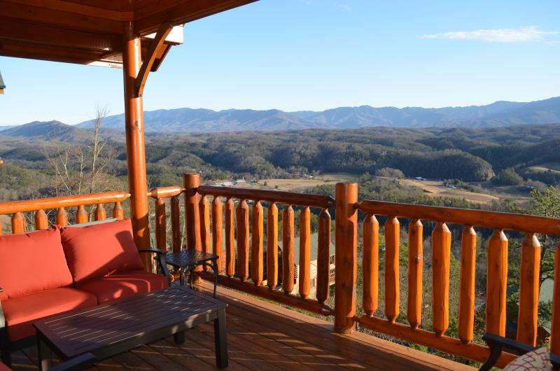 Cozy cushioned sofa on the deck to enjoy the view! - Luxury Vacation Cabin-Majestic SmokyMountain View! - Pigeon Forge - rentals