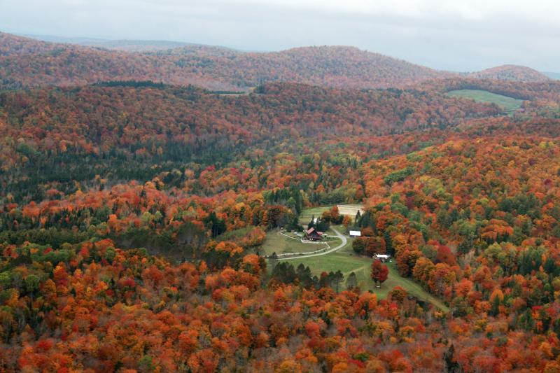 The property from above with mountains - Cozy off-grid Cabin in Beautiful, rural Vermont - Washington - rentals