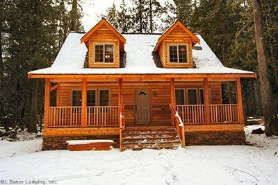 The front of Cabin 89 - a charming cedar chalet - Glacier Springs Cabin #89 - Cedar and Log Cabin! Sleeps 4 - close to skiing and hiking at Mt. Baker! - Glacier - rentals