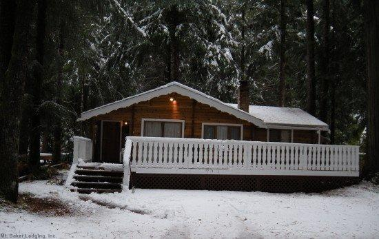 Front view of Cabin 66 - Snowline Cabin #66 - Gramma`s & Grampa`s rustic cabin! NOW WITH A NEW HOT TUB AND AIR CONDITIONING, WAIT IT HAS WI-FI ALSO! - Glacier - rentals
