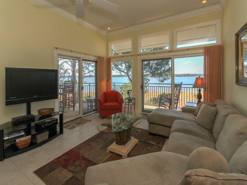 Living Room with Views of the Calibogue Sound from 1898 Beachside Tennis - 1898 Beachside Tennis - Sea Pines - rentals