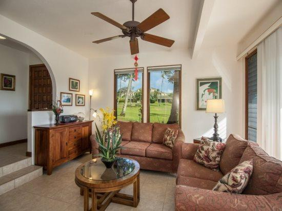 living room - FREE Car* with Kahala 214 Partial Ocean View, 2bd/2baths. Great Location! - Poipu - rentals