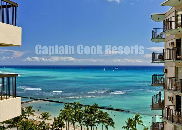 Ocean views from large balcony - Deluxe Waikiki Ocean View 2/2 Condo with A/C, WIFI, pool, parking, sleeps 6! - Waikiki - rentals