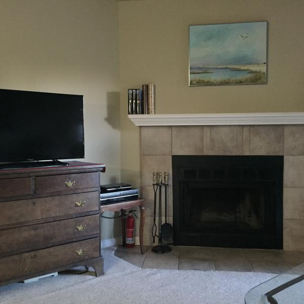 Living room with a wood burning fireplace for those cold winter nights & very romantic. - Fully Furnished 3rd floor Condo Sweet Boulder,Co. - Boulder - rentals